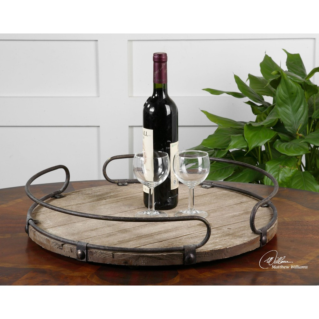 Acela Round Wine Tray   The Uttermost Company