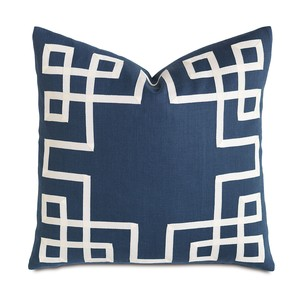 Breeze Indigo with Ribbon Pillow | Eastern Accents