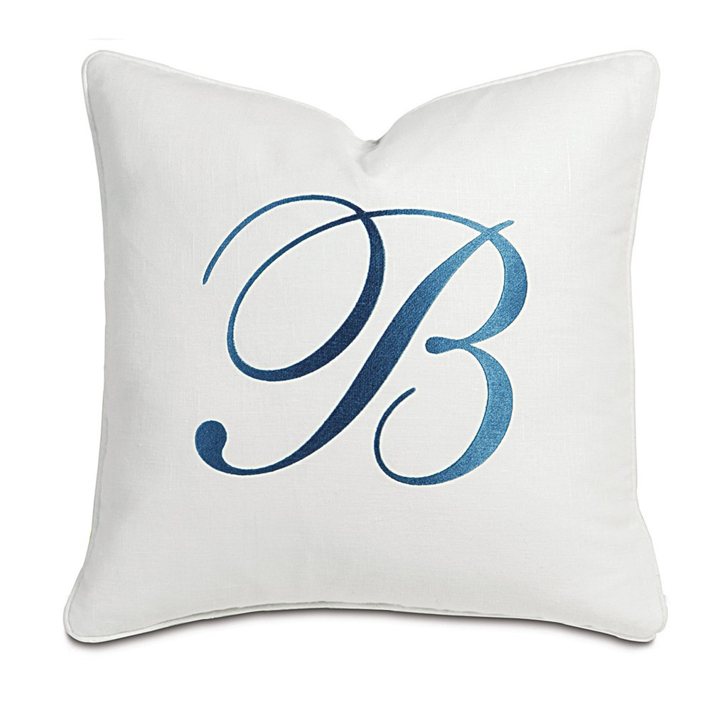 Breeze White with Monogram Pillow   Eastern Accents