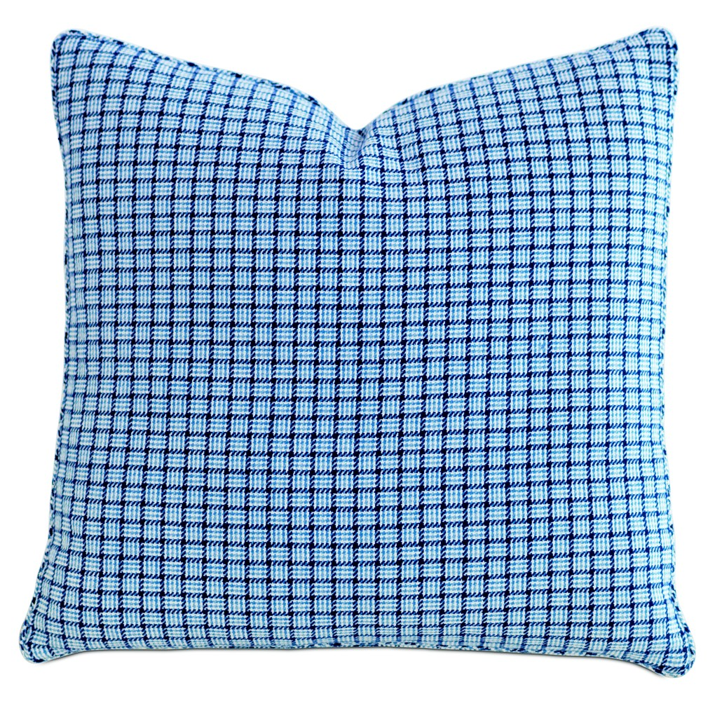 Checkmate Sky Throw Pillow with Mini Welt | Eastern Accents