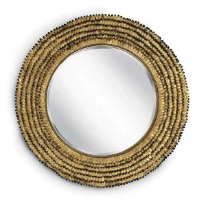 Gold Leafed Round Petal Mirror | Regina Andrew