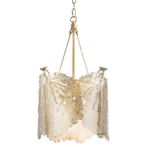 Large Sea Fan Chandelier in Brass