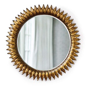 Round Sun Flower Beveled Mirror