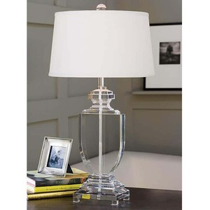 Crystal Flat Urn Lamp with White Drum Shade