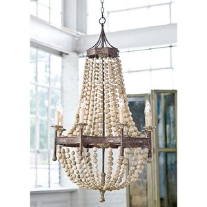 Scalloped Wood Bead Theatre Chandelier | Regina Andrew