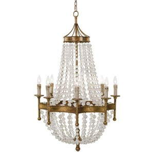 Scalloped Frosted Crystal Bead Chandelier