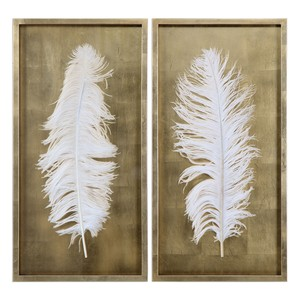 White Feathers Shadow Box - Set of Two