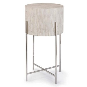 Polished Nickel and Bone Drum Table