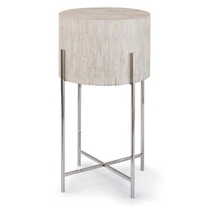 Polished Nickel and Bone Drum Table | Regina Andrew