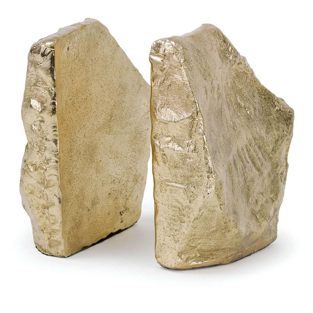 Soft Gold Rock Bookend Set   Regina Andrew