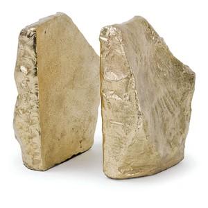 Soft Gold Rock Bookend Set