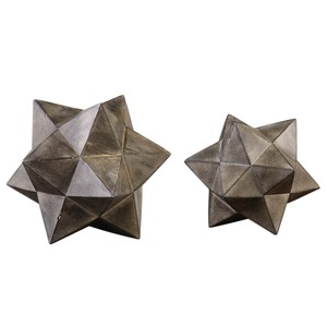 Geometric Stars Sculptures - Set of Two