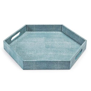 Turquoise Shagreen Hex Tray | Regina Andrew