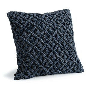 Daisy Blue Macramé Pillow