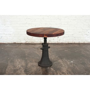 Round Reclaimed Hardwood Side Table | Nuevo