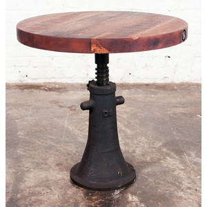 Round Reclaimed Hardwood Side Table