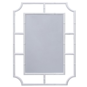White Lacquer Bamboo Detail Beveled Glass | Worlds Away