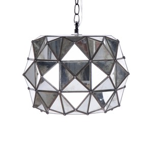 Tin and Antique Mirror Pendant | Worlds Away