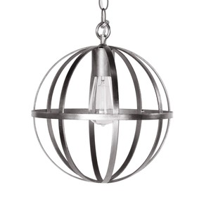 "12"" Iron Sphere Silver Leaf Chandelier 