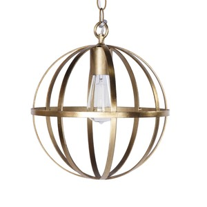 "12"" Iron Sphere Gold Leaf Chandelier | Worlds Away"