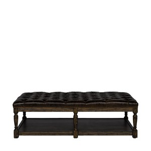Large Leather Button Tufted Ottoman