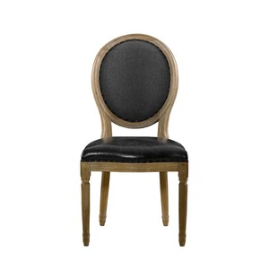 Slate Leather and Wool Vintage Louis Side Chair