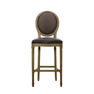 Glove Leather and Brown Linen High Bar Stool