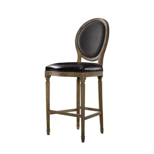 Slate Leather and Wool Counter Stool