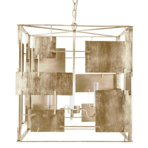Iron Abstract Square Chandelier in Silver Leaf