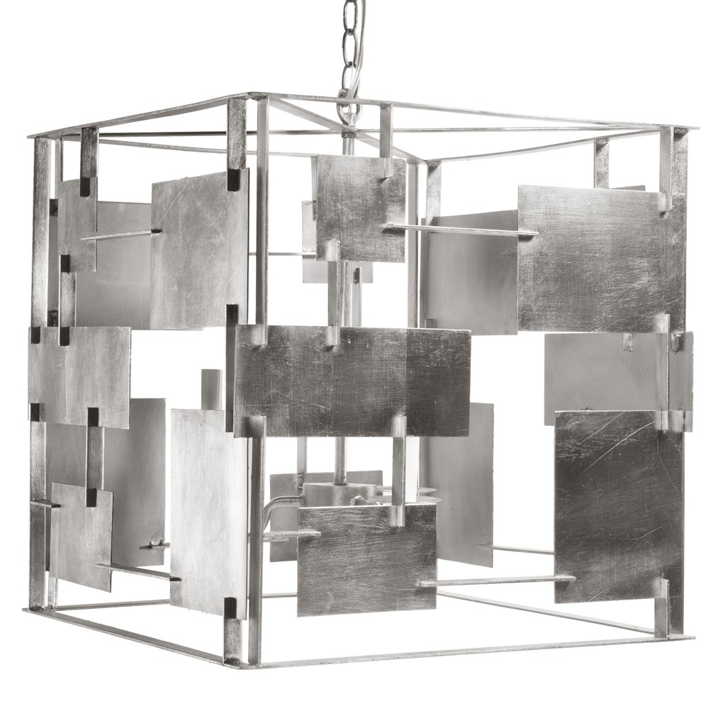 Iron Abstract Square Chandelier in Silver Leaf | Worlds Away