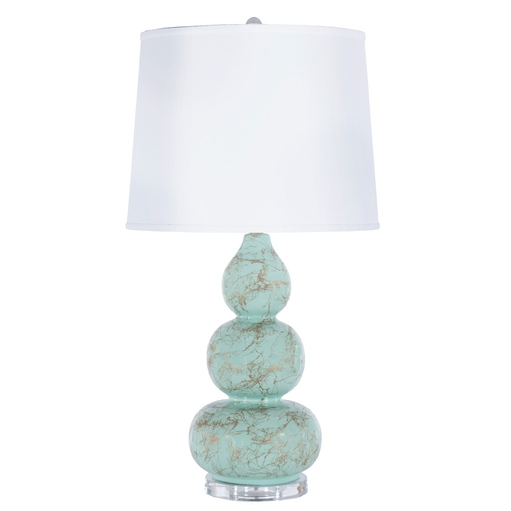 Three Tier Mint Lamp Gold Marbling Linen Shade | Worlds Away