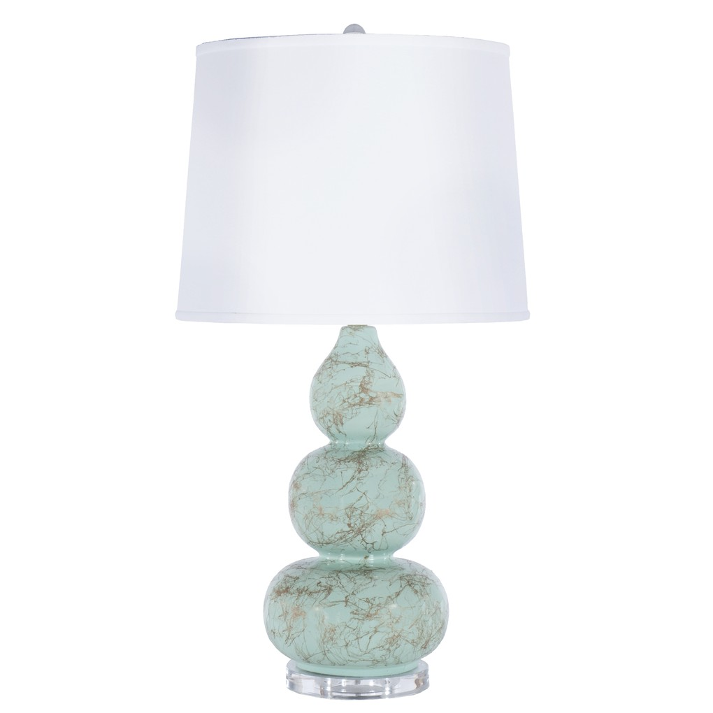 Three Tier Mint Lamp Gold Marbling Linen Shade | Worlds Away