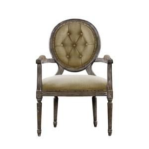 Vintage Louis Round Button Arm Chair
