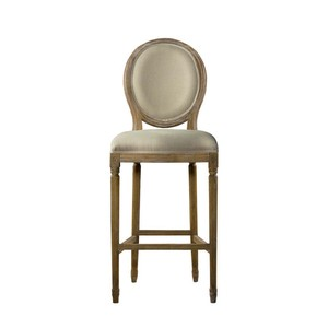 Beige Vintage Louis Back High Bar Stool