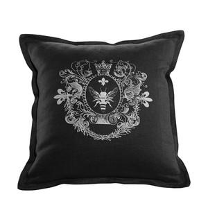 Black Linen Logo Pillow