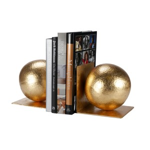 Pair of Gold Leaf Hammered Ball Bookends | Worlds Away