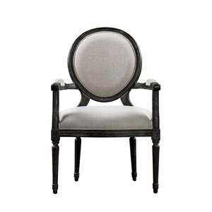 Vintage Louis Antique Black & Beige Arm Chair