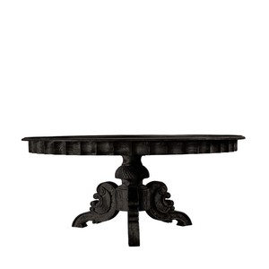 """63"""" French Round Antique Black Table"""