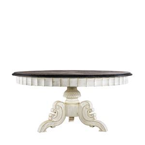 "63"" French Vintage Black & White Round Table"