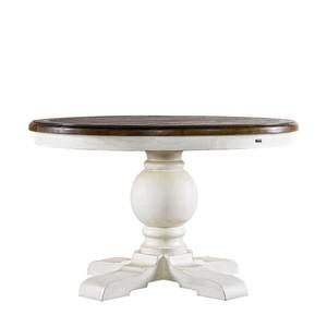 48' Round Trestle Vintage White Table