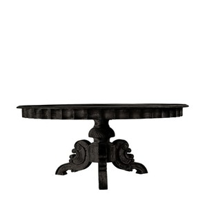 French Round Antique Black Dining Table