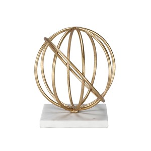 Gold Leaf Sphere on White Marble Base | Worlds Away