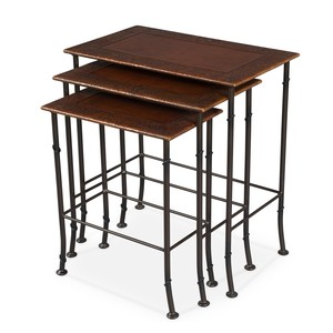 Kew Gardens Leather Nesting Tables | Sarreid