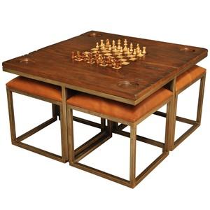 Low Game Table w/ 4 Stools | Sarreid