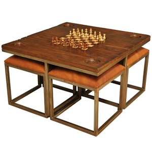 Low Game Table With Four Stools | Sarreid