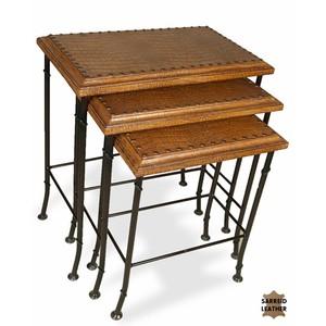 Set of 3 Croc Leather Nesting Tables | Sarreid