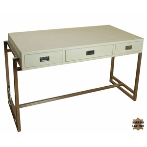 Crocodile Pearl Leather Desk | Sarreid