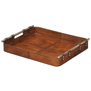 Safari Leather Tray | Sarreid