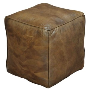 Leather Cube Footrest | Sarreid