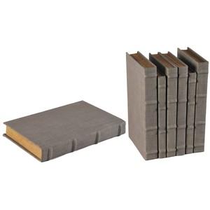 Set of 6 Heather Gray Linen Books | Sarreid